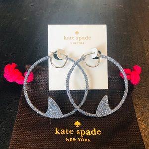 Kate Spade NWOT Shark Pave Large Hoop Earrings
